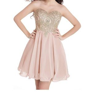 Dresses & Skirts - Junior's Tulle Corset Gold Lace Cocktail dress